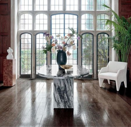 This stunning oval marble table can transform a great entry to  an elegant dining room. Nowadays we all talk about multi-purpose rooms.   #LTKhome