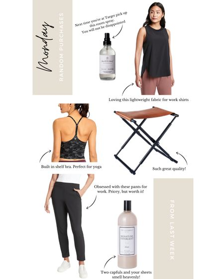 A few of my recent favorites purchases including lightweight fabrics for work clothes, delicious smelling room spray, and a detergent that will make your sheets smell like a high end hotel   #LTKworkwear #LTKstyletip #LTKbacktoschool