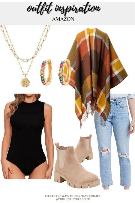 Amazon outfit inspiration for a casual outfit #BoyfriendJeans #BodySuits #Shacket #BackpackPurse #ChelseaBoots #AmazonFinds #AmazonFashion   #LTKSeasonal #LTKstyletip #LTKcurves