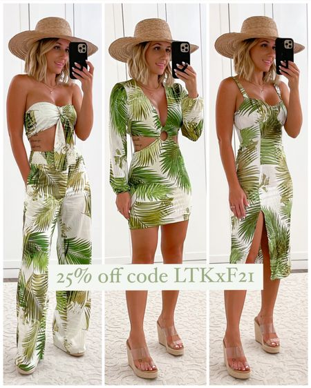 Summer vacation outfits. Palm print crop top & wide leg pants size xs. Cut out mini dress size xs. MIDI dress size xs.    http://liketk.it/3hpKa #liketkit @liketoknow.it #LTKunder50 #LTKDay #LTKsalealert  #laurabeverlin