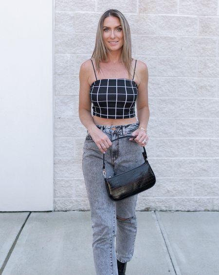 Amazon fashion Amazon finds crop top gray denim black handbag   #LTKsalealert #LTKunder50 #LTKstyletip