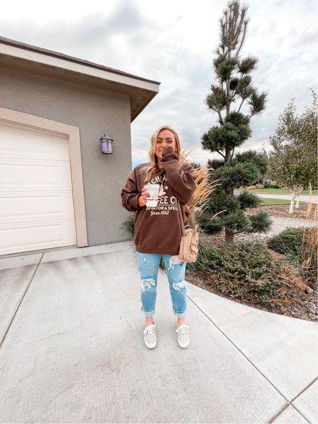 Fall oversized graphic sweatshirt Halloween Spooky Coffee crew neck Along crossbody bag Vans checkered sneakers Wearing XL in the sweatshirt   #LTKunder50 #LTKstyletip #LTKSeasonal