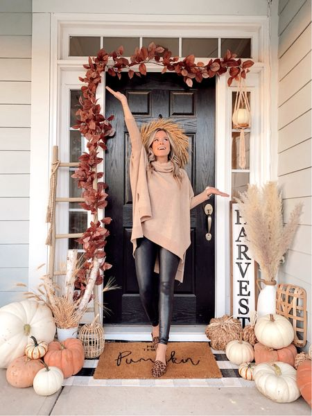 Throwback to last years fall porch 🍁 y'all I'm so behind on this years—I may just throw some pumpkins around & call it a day 😅  {sweater & leggings linked}    #LTKunder50 #LTKSeasonal #LTKstyletip