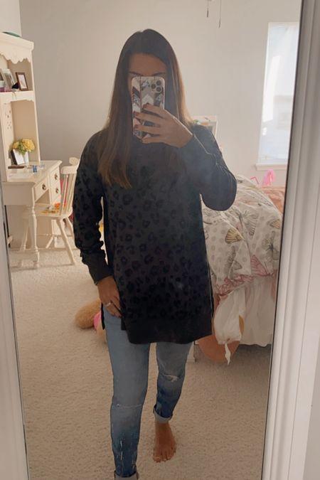 Cozy tunic sweatshirt and madewell jeans   #LTKSeasonal #LTKstyletip #LTKunder50