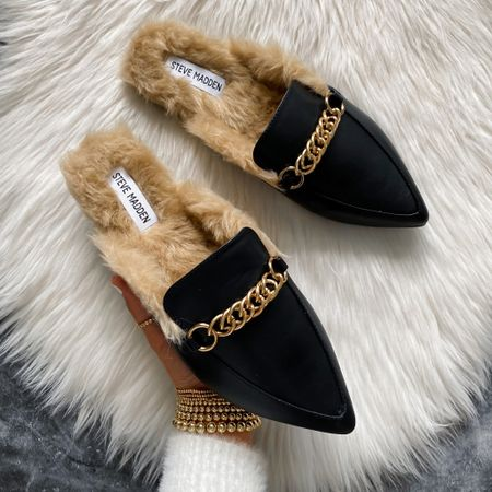 Steve Madden faux fur mules from Walmart #houseofsequins #thehouseofsequins
