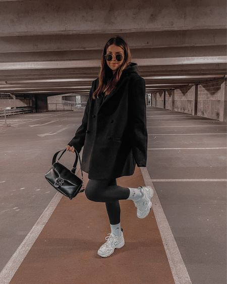 All black autumn / fall winter outfit  Black blazer coat Black hoodie Black legging  New balance  Coach tabby pillow 26 Raybans   #LTKeurope #LTKSeasonal #LTKstyletip