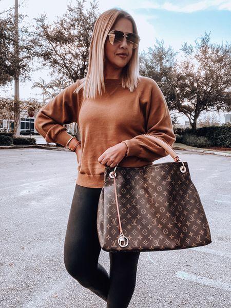 Cashmere Sweater, Spanx faux leather leggings, golden goose sneakers, Louis Vuitton Bag   #LTKitbag #LTKshoecrush #LTKSeasonal