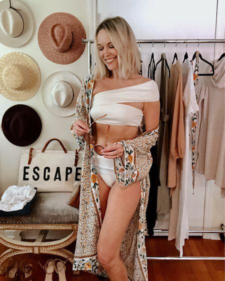 White one-shoulder bikini (bottom has a cheeky cut 🍑) only $17 Duster kimono cover up, $20  Wide brim sun hat Chanel CC cream with SPF  http://liketk.it/2Ec2y @liketoknow.it #liketkit #LTKswim #LTKtravel #LTKstyletip #LTKunder50 #LTKbeauty Amazon, summer, beach, glam, vacation, two piece, swimsuit