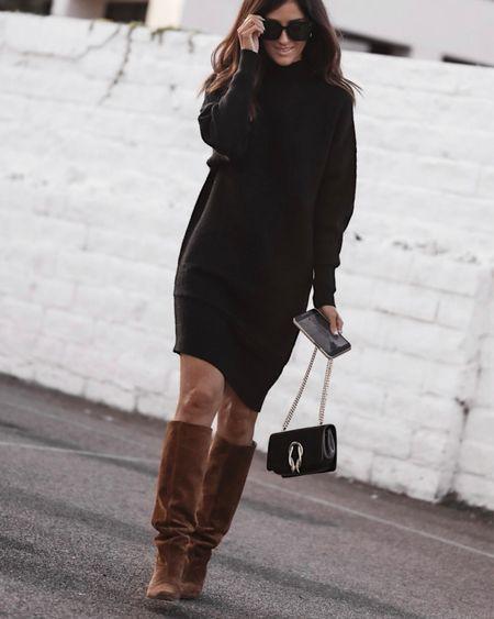 Express style, midi sweater dress, asymmetrical dress, designer bag, fall style, StylinByAylin   #LTKSeasonal #LTKunder100