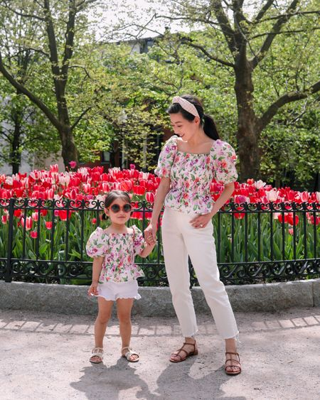 Use code Jean20 for 20% off at Janie and jack! Nori's full outfit is linked and I am wearing a kids 14 (note, since it's kids sizing it will fit short on adult women) and the full size range is 12 months to kids 16. The shoulders fit a little loose on us but was a very easy fix with a hidden safety pin behind each shoulder in the back. I'm wearing everlane cheeky jeans with the hems cut shorter and jcrew sandals 5.5 (so comfy! Front strap runs a tad narrow but it broke in quickly for me).  http://liketk.it/3fqJA #LTKstyletip #LTKkids #LTKbaby #liketkit @liketoknow.it