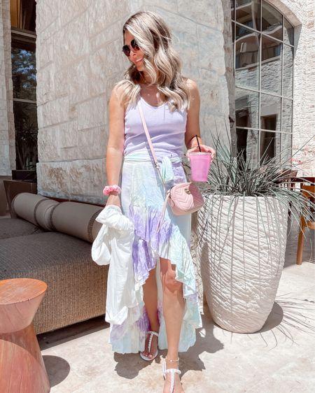 Tie dye wrap skirt with lavender tank top, pearl sandals summer outfit, beach cover-up Herfashionedlife http://liketk.it/3hAxz #liketkit @liketoknow.it #LTKunder100 #LTKtravel #LTKswim
