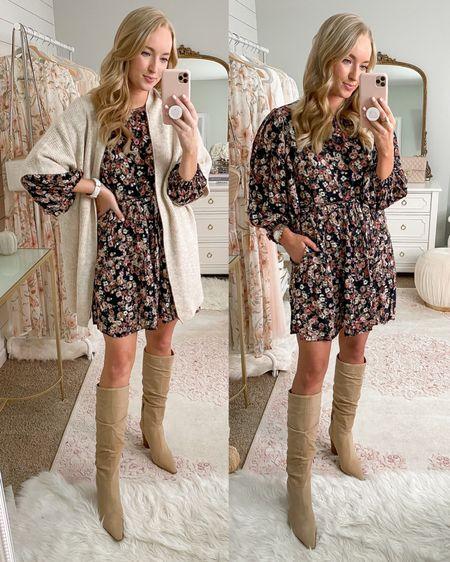 Fall dress two ways    http://liketk.it/2Xpfa #liketkit @liketoknow.it #ltkfall // fall fashion // fall floral dress // tall boots