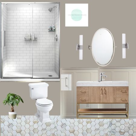 Here's a bathroom I designed for a friend with products from Home Depot, Pottery Barn and Wayfair. I love the oak vanity mixed with warm marble, modern sconces and the oval pivot mirror http://liketk.it/3jvGc #liketkit @liketoknow.it