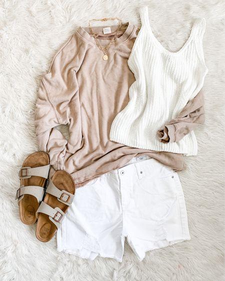 Tan taupe beige brown neutral sweatshirt with white distressed denim shorts and white knit sweater tank Birkenstock dupes http://liketk.it/3hu9s #liketkit @liketoknow.it #LTKunder50