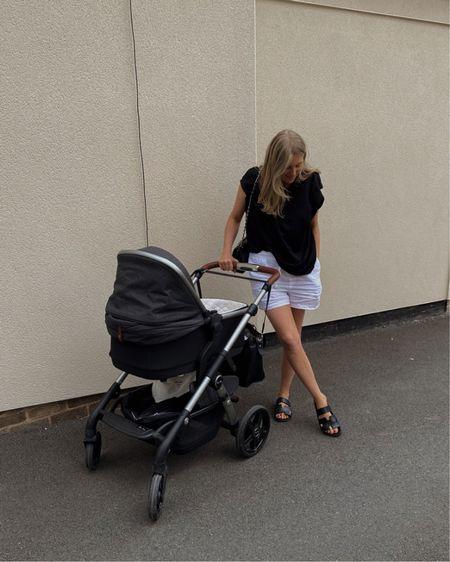 H&M top, white linen shorts, chunky black sandals , summer outfit, minimal outfit, monochrome look , silver cross pram, black pram @liketoknow.it #liketkit http://liketk.it/3hJuk #LTKbaby #LTKfamily #LTKeurope
