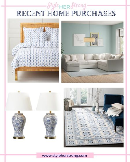 Recent home purchases Serena & Lily sale 20% off with code: DIVEIN chinoiserie lamps sectional sofa blue and white rug grandmillennial decor master bedroom finds   #LTKhome #LTKfamily #LTKsalealert