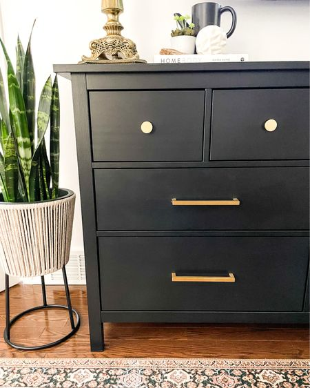 Purchase this dresser!  #dressermakeover #painteddresser #moodydresser #blackdresser #brushedgoldhardware #ikea #ikeahome #customize  #LTKstyletip #LTKhome