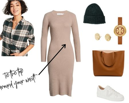 A neutral sweater dress is such a versatile basic! Check out my profile at Natty Gal for four great looks using this dress. This caual look features a flannel tied around the waist, white sneakers, a beanie and roomy tote. Great for errand running or a playdate with the kids. http://liketk.it/39oUp @liketoknow.it #liketkit #LTKSeasonal #LTKsalealert #LTKstyletip #LTKunder50 #LTKunder100 #LTKitbag @liketoknow.it.europe
