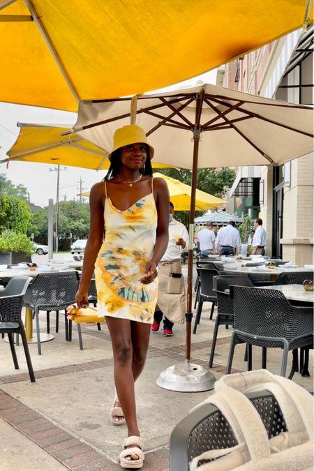 Cowl neck Tie dye comet mini dress and fuzzy sandals. I'm wearing a size xsmall.   #LTKunder100 #LTKtravel #LTKstyletip
