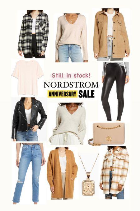 Nordstrom anniversary sale still in stock  Spanx leggings  Shackets Sweaters Flannel shirt Leather jacket Denim  Initial necklace  Tory Burch bag    #LTKsalealert #LTKunder50 #LTKunder100