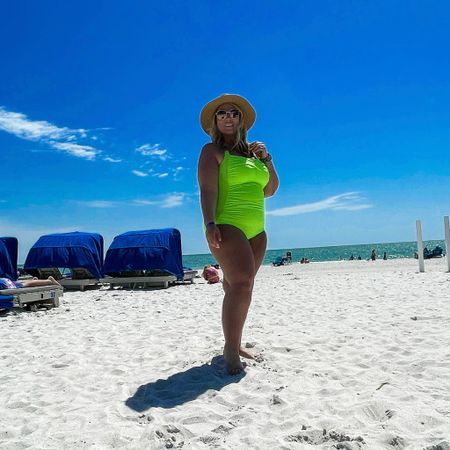 Absolutely obsessed with this neon green swimsuit. Super flattering if you're curvy (wearing an XL for reference)! My sunnies are also BOGO free right now 👙 @liketoknow.it #liketkit #LTKswim #LTKtravel #LTKsalealert #midsizestyle #midsizeblogger #curvyswimsuit #curvystyle #swimsuit #amazon #amazonfinds #ltkcurves #vacationstyle #swimwear #onepieceswimsuit #quaysunglasses #beachwear http://liketk.it/3e07R