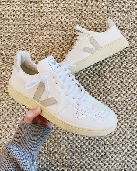 My Veja Sneakers are back in stock! These are the V10 style—the suede color in the pair I linked looks like it *may* be a bit warmer than the pair I own (mine is more of a cool beige), but everything else is the exact same. The suede detailing makes them the perfect white sneakers for fall 🍂   I linked more Veja V10 styles in neutral tones that will work with a variety of outfits! #veja #vejasneakers #vejav10 #whitesneakers