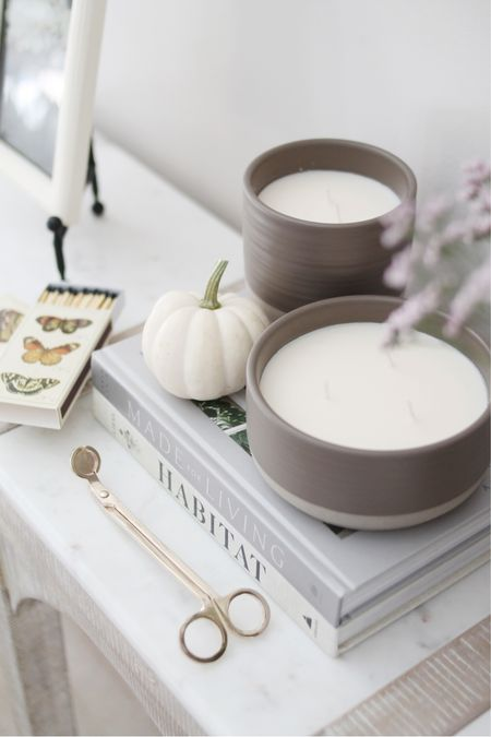 Sophisticated neutrals but make it fall 🍂 How gorgeous are these terracotta candles I picked up from @walmart? (ad) I love the cozy feeling candles bring this time of year, and knew they'd be perfect to bring some rich autumnal texture and scents in for the season. I rounded up tons of gorgeous and affordable fall decor from #WalmartHome, so head over to the @shop.LTK app or courtneymbrowning.com to check out all the finds!  . .   #LTKSeasonal #LTKhome