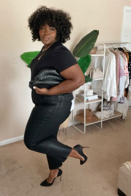 #Nsale coated straight leg jeans size 18, padded shoulder bodysuit size 1X, #DateNight #PlusSize #BlackGirlStyle #FallOutfit  #LTKstyletip #LTKunder100 #LTKcurves