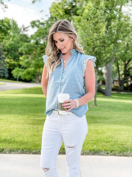 Love this chambray lace sleeve blouse from express. Wearing size xs. Distressed white denim jeans from Abercrombie.    http://liketk.it/3gSHn #LTKDay #LTKstyletip #LTKunder100 #liketkit @liketoknow.it