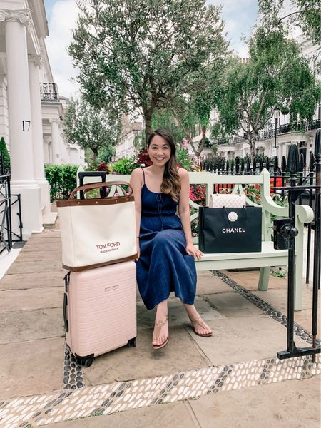 Weekend away essentials! The perfect cabin ready luggage with my huge Tom Ford overnight bag! ✨❤️ Teamed with my favourite navy summer dress 😍     #LTKeurope #LTKtravel