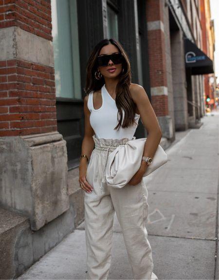 Nordstrom summer outfit  White cutout bodysuit wearing an XS Nordstrom linen pants wearing an XS Bottega Veneta The Pouch in Mist color  Schutz heels    #LTKstyletip #LTKunder50 #LTKunder100