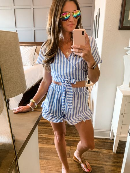 For under $30, we LOVE this set! It's a linen material so it's lightweight and incredibly comfy, http://liketk.it/3hpqL #liketkit @liketoknow.it #LTKsalealert #LTKstyletip #LTKunder50  for the heat of summer! Dress it with fun colors or pair with red for summer's patriotic holidays!