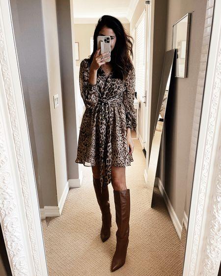 Wearing a size small dress, runs true to size, leopard print dress,  express style, StylinByAylin   #LTKstyletip #LTKunder100 #LTKSeasonal