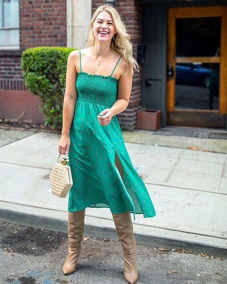 Green midi dress, OTK Boots, outfit of the day, tall girl style, spring dress, spring style @liketoknow.it http://liketk.it/3aI3w #liketkit #LTKstyletip #LTKshoecrush #LTKunder100