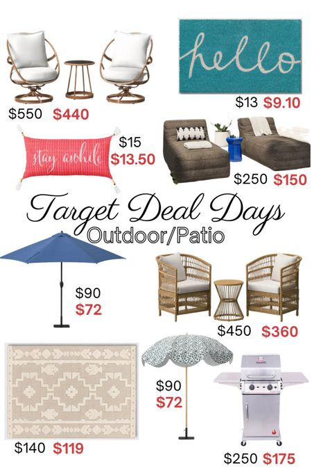 Target Deal Days June 20-22. Save 25-50% off on home, patio, beauty and more! Patio furniture set, outdoor rug, door mat, outdoor throw pillow, patio umbrella, grill, lounge chair. http://liketk.it/3i0GN @liketoknow.it #liketkit #LTKsalealert #LTKunder100 #LTKhome #LTKfamily