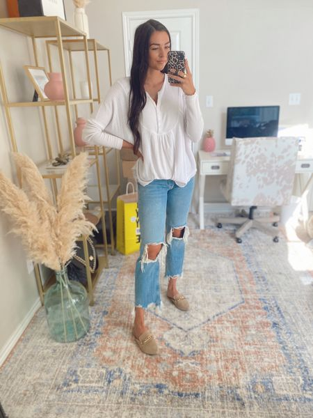 Small top, 26 jeans, 8 mules  Nsale, Nordstrom sale, mules, Maggie free people jeans, free people henley