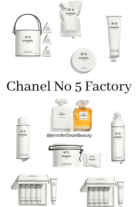 The new Chanel No 5 Factory Collection celebrates 100 years of Chanel No 5. This post contains all of the original No 5 Fragrance items in the collection. The No 5 L'Eau is in another post.    #LTKbeauty http://liketk.it/3j0Uk #liketkit @liketoknow.it   Download the LIKEtoKNOW.it shopping app to shop this pic via screenshot