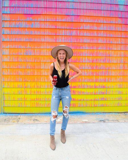 Mom jeans, 90 jeans, high waisted mom jeans, boyfriend jeans, tan fedora, white fedora, white hoop earrings http://liketk.it/2WEHi #liketkit @liketoknow.it #LTKstyletip #LTKunder50 #LTKsalealert