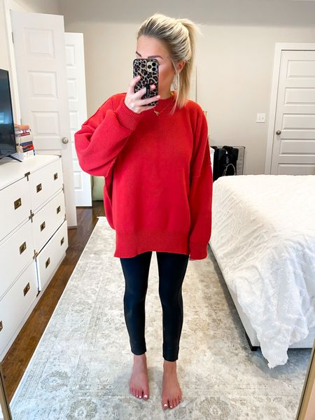 Free People Easy street sweater dupe! $128 vs $35 dollars.. Casual Christmas sweater, casual Christmas outfit!   #LTKHoliday #LTKunder50