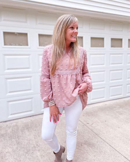 Workwear outfit / dressy shirt / oversized / Amazon blouse size medium / white jeans fit TTS size 4 short / tan booties / 40s fashion / summer look  http://liketk.it/3hR7o #liketkit @liketoknow.it #LTKunder50 #LTKstyletip #LTKworkwear