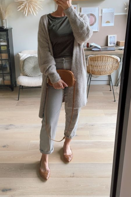 Grey jeans, tan pumps and a bag with a khaki top and a long cardigan  #LTKshoecrush #LTKunder100 #LTKeurope