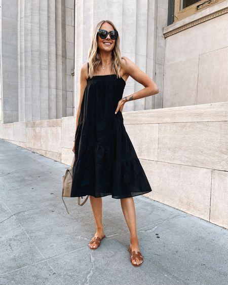 Jenni kayne black linen dress (use code JACKSON15 for a discount) wearing size small #summerdress #sandals #blackdress #mididress http://liketk.it/3eKkI #liketkit @liketoknow.it #LTKunder50 #LTKunder100 #LTKstyletip