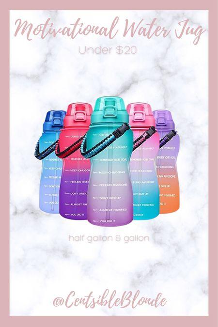 Motivational water bottle under $20 BPA free water bottle with paracord handle     #LTKtravel #LTKfit #LTKunder50