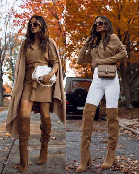 2 fall camel outfits from Walmart and Nordstrom Over-the-knee boots  Camel sweater dress  Camel Off-the-shoulder Free People top   #LTKstyletip #LTKshoecrush #LTKSeasonal