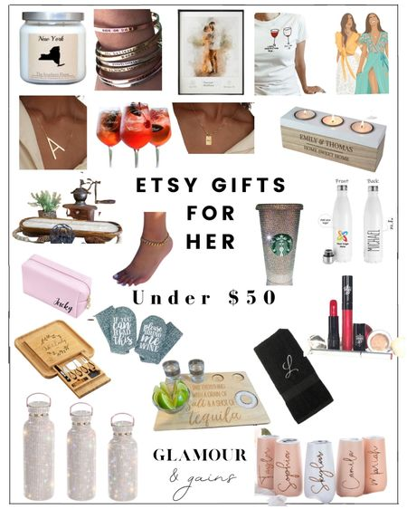 Etsy gifts for her under $50. Beautiful & thoughtful custom gifts: glassware, home, personalized gold necklaces, Starbucks cups, candles & makeup. There's a gift for everyone: Moms, grandma's, daughters, best friends, sisters, teachers & in laws🎁   #LTKGiftGuide #LTKHoliday #LTKunder50