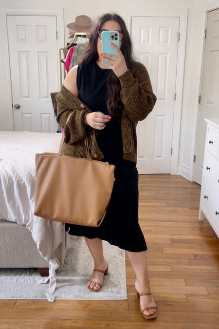 Target fall outfits, target finds, outfit inspo, work tote bag, strapped sandals, fall to summer, oversized cardi   #LTKshoecrush #LTKSeasonal #LTKbacktoschool