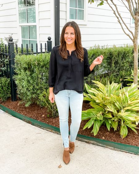Fall outfit / casual outfits / black long sleeve top / light blue jeans / brown mules / short silver necklace   #LTKworkwear #LTKunder100 #LTKshoecrush