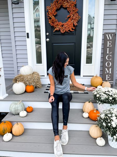 Spanx faux leather leggings season- the best time of the year! I wear a medium (I'm a 4 in jeans)   #LTKGiftGuide #LTKHoliday #LTKSeasonal