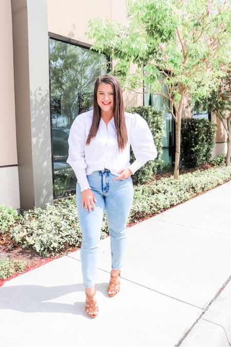 I love anything with a puff sleeve! How cute is this top !?   Loving this style for Spring and you can never go wrong with a classic white button up- with a twist!  http://liketk.it/3ba0h #liketkit @liketoknow.it #LTKSpringSale #LTKstyletip #LTKunder50 Shop your screenshot of this pic with the LIKEtoKNOW.it shopping app