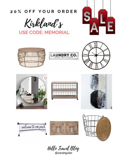 Kirkland's Memorial Day sale. Home decor. Wall clock. Wall art. Nesting table. Round mirror. Porch decor. Farmhouse decor. Laundry room decor. @liketoknow.it @liketoknow.it.home http://liketk.it/3gqil #liketkit #LTKhome #LTKsalealert #LTKunder100